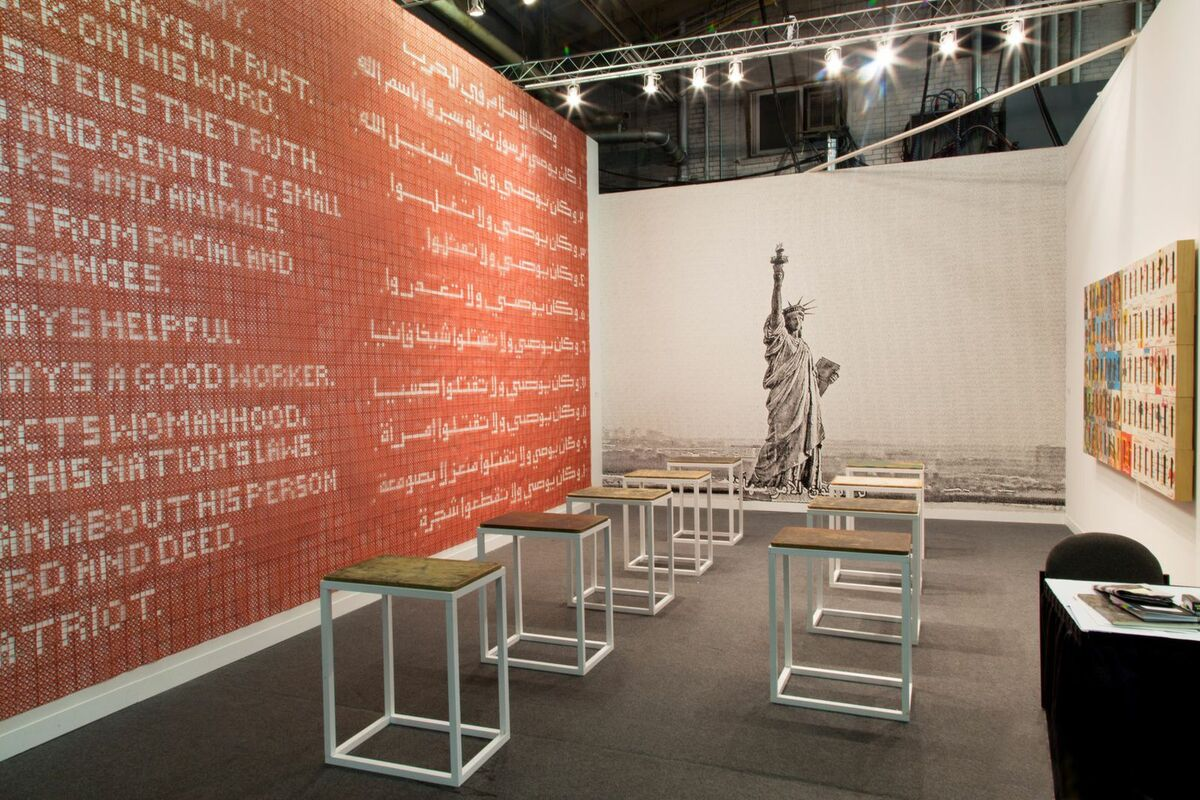 Installation view of Athr Gallery's booth at The Armory Show 2015. Photo by Christophe Tedjasukmana for Artsy.