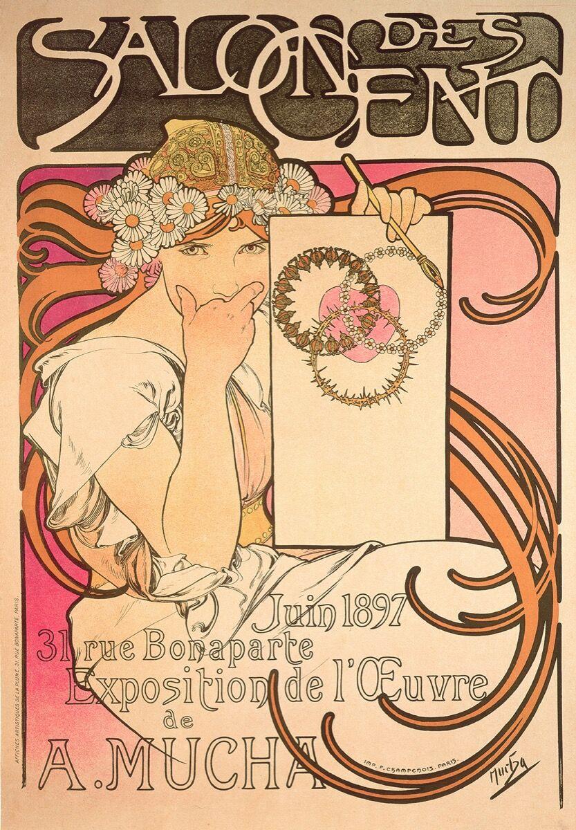 Alphonse Mucha, Salon des Cent: exposition de l'oeuvre de Mucha, 1897. © Mucha Trust 2018.