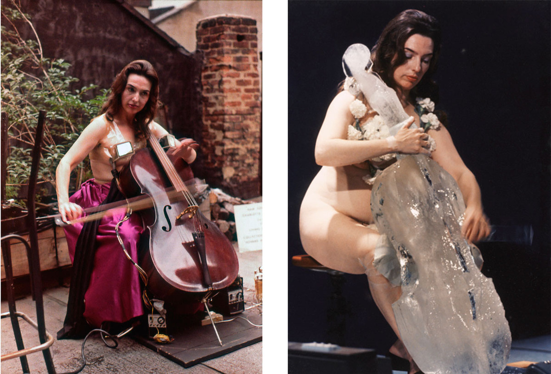 Left: Vin Grabill, Charlotte Moorman performs Nam June Paik's TV Bra for Living Sculpture on the roof of her loft, 62 Pearl Street, New York, July 30, 1982. © Vin Grabill. Courtesy of Grey Art Gallery, New York University; Right: Charlotte Moorman performingJim McWilliams's Ice Music for Sydney, Art Gallery of New South Wales, 1976. Unidentified photographer, reproduced courtesy of Kaldor Public Art Projects. Courtesy of Grey Art Gallery, New York University.