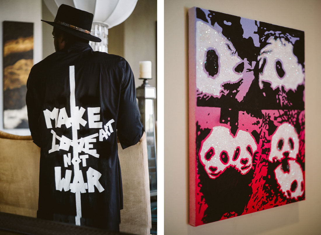 Left: Portrait of Amar'e Stoudemire in his Miami home. Right: Painting by Rob Pruitt. Photos by Gesi Schilling for Artsy.