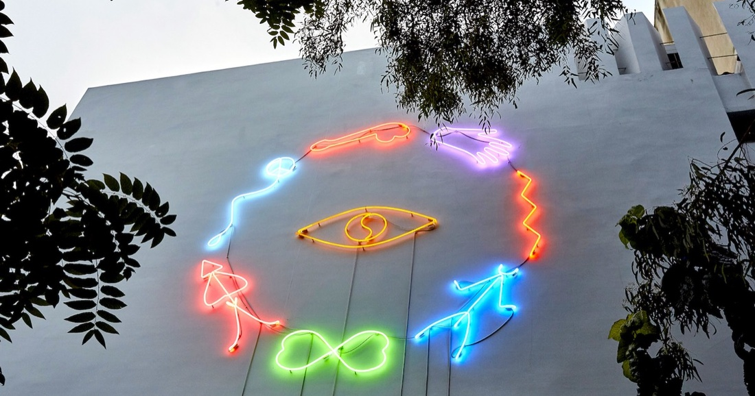 Angelo Plessas, Extropic Optimisms, 2015, neon installation at the façade of The Breeder, Athens. Courtesy of The Breeder, Athens.