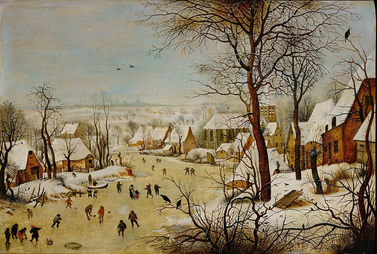 Pieter Bruegel the Elder, Winter Landscape with a Bird-trap,  ca. 1601. Image via Wikimedia Commons.