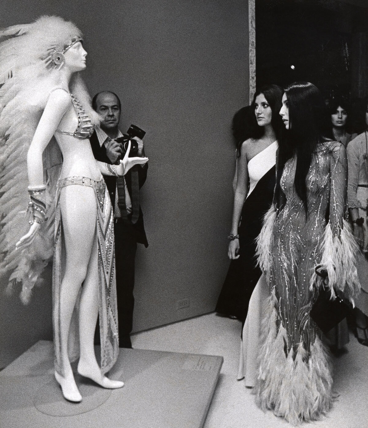 """Cher during """"Romantic and Glamorous Hollywood Design"""" exhibition at Metropolitan Museum of Art in New York City, New York, 1974. Photo by Ron Galella/WireImage."""