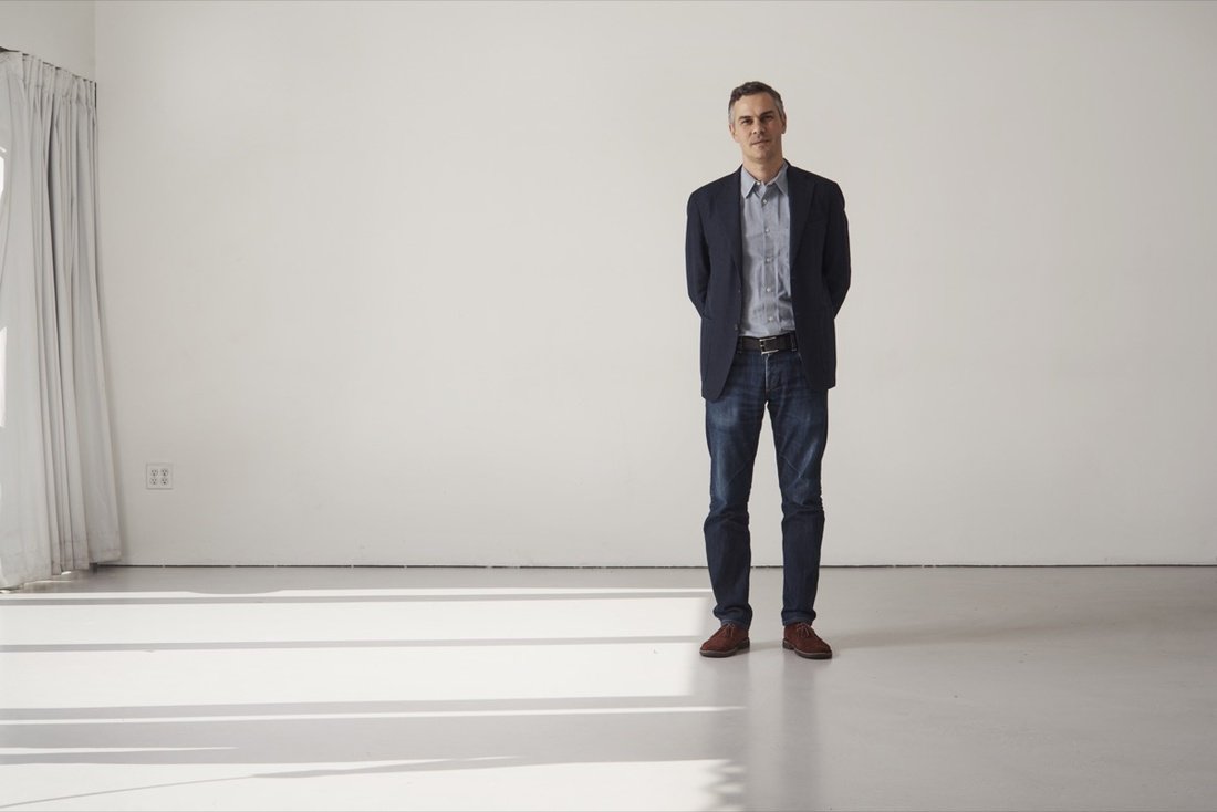 Portrait of Massimiliano Gioni at the New Museum byAlex John Beck for Artsy.