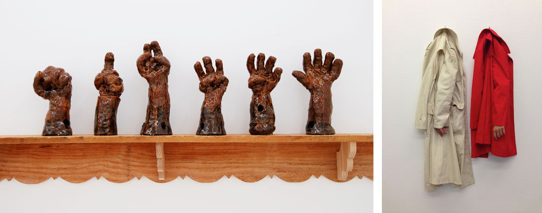 Left: Jeffry Mitchell, Hands (il Pugno, 1,2,3,4, la Palma), 2012. Courtesy of the artist and the Jewish Museum. Copyright Jeffrey Mitchell. Right: Jirí Kovanda, made in collaboration with Eva Koèátková, Hanging Sleeves, Hiding Hands, 2013. Courtesy of the artist and the Jewish Museum.