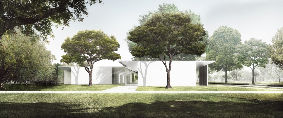 The Menil Drawing Institute, west façade as seen from the Energy House. Courtesy of Johnston Marklee / The Menil Collection