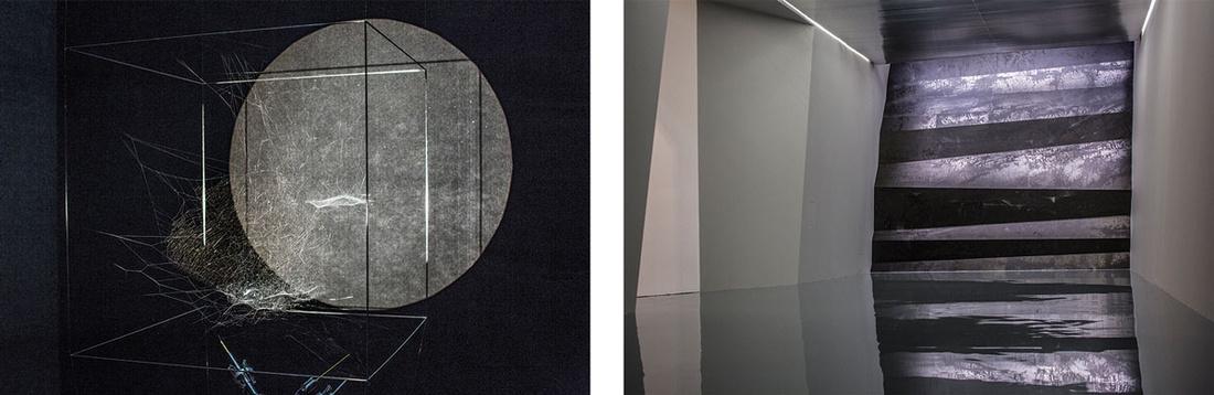 Left: Installation view ofTomás Saraceno's Sonic Cosmic Webs, 2016. Right: Installation view ofZheng Chongbin's Wall of Skies, 2016. Photos courtesy ofthe Shanghai Biennale.