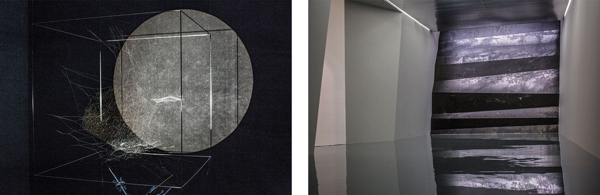 Left: Installation view of Tomás Saraceno's Sonic Cosmic Webs, 2016. Right: Installation view of Zheng Chongbin's Wall of Skies, 2016. Photos courtesy of the Shanghai Biennale.
