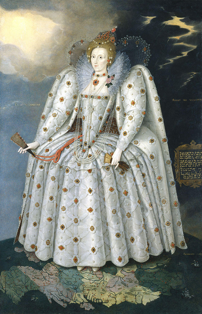 Marcus Gheeraerts the Younger,  Queen Elizabeth I (The Ditchley Portrait),  ca. 1592. Image via Wikimedia Commons.