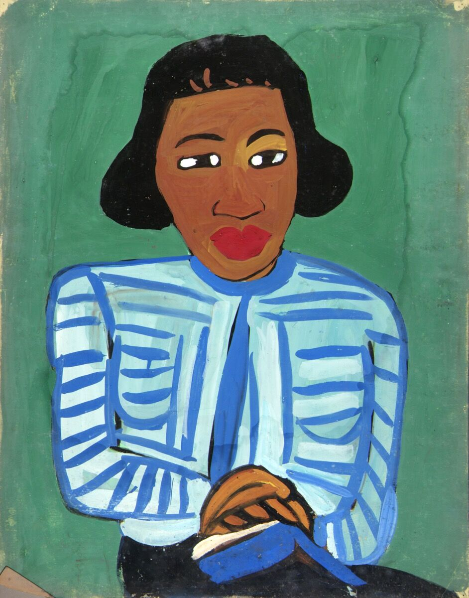 William H. Johnson, Portrait of Woman with Blue and White Striped Blouse, ca. 1940–42. Image courtesy of the Smithsonian American Art Museum, Washington, D.C.