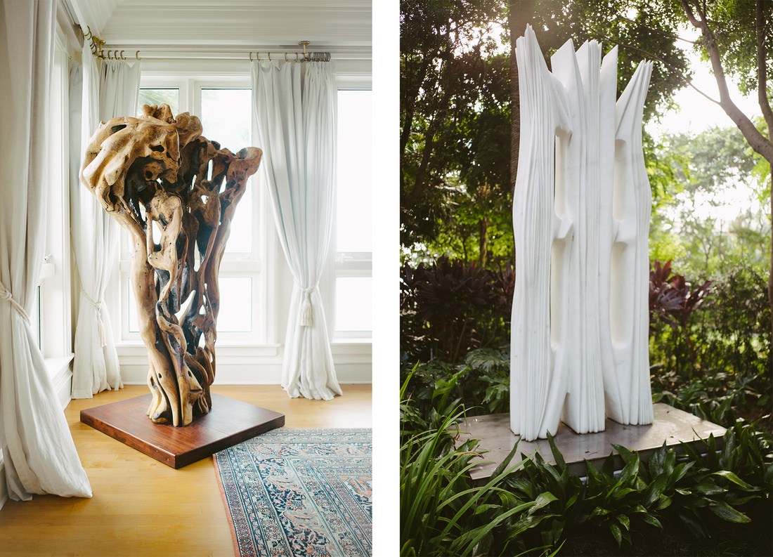 Pablo Atchugarry, Untitled, 2013 (left) and Free Spirit, 2011 (right), installed at Jorge M. Perez's Miami home. Photos byGesi Schilling for Artsy.