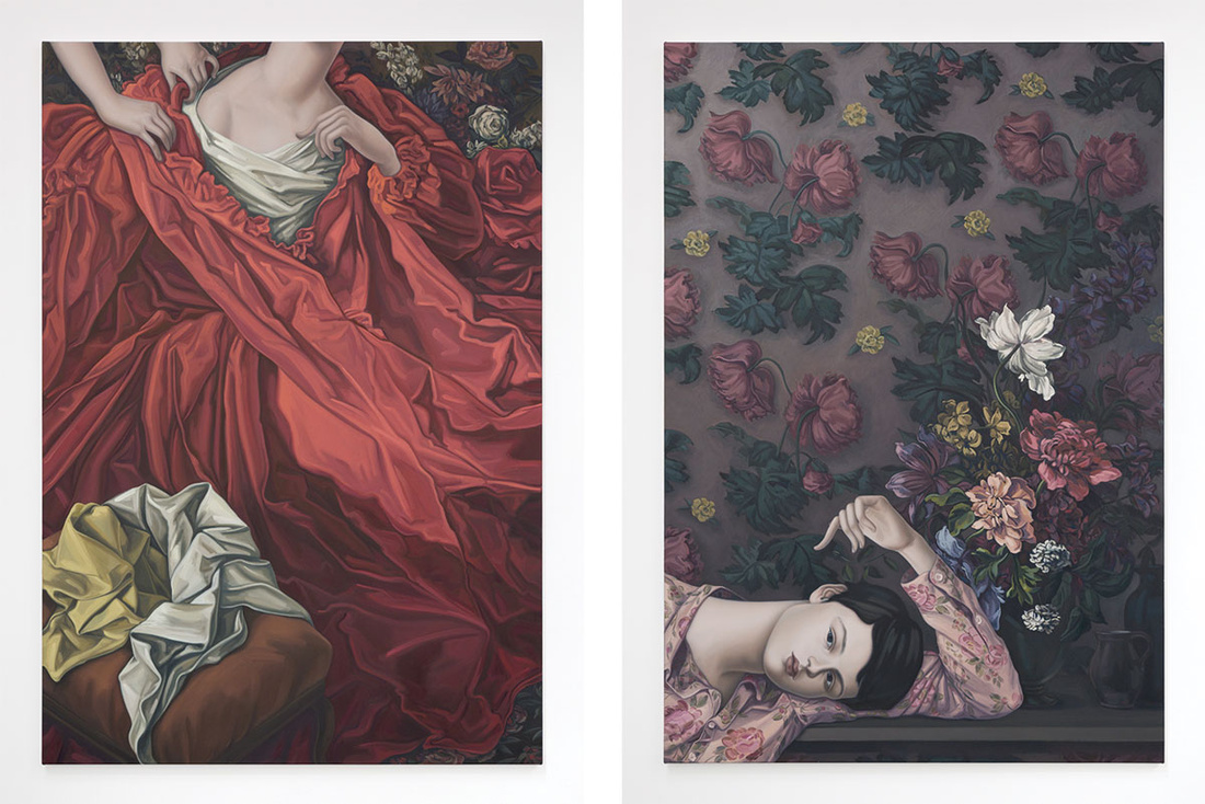Left: Jesse Mockrin, The Honest Model, 2016. Right: Jesse Mockrin, The Dark-Haired Odalisque, 2016. Images courtesy of Nathalie Karg Gallery.