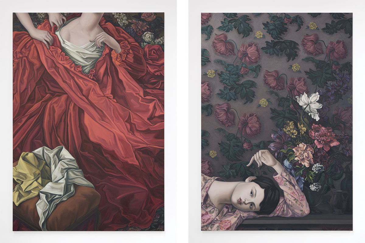Left: Jesse Mockrin, The Honest Model, 2016. Right: Jesse Mockrin, The Dark-Haired Odalisque, 2016. Images courtesy of Nathalie Karg Gallery.