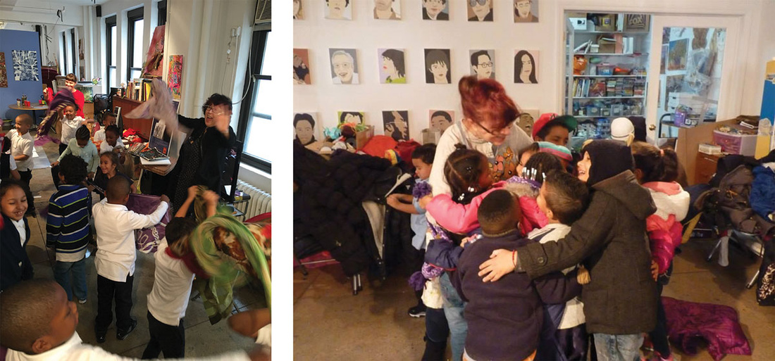Cyndie Berthezene with Time In students at their 29th Street studio. Photos courtesy of Time In Children's Arts Initiative.