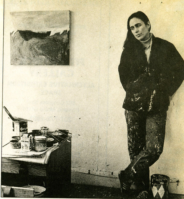 Portrait of Katherine Bradford in her forties in her studio in the 1980s by Philip Rogers. Courtesy of the artist.
