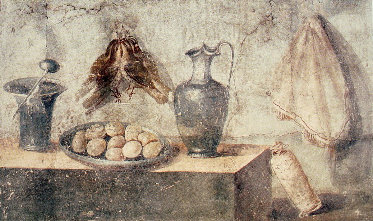 Still life with eggs, birds, and bronze dishes from the House of Julia Felix, Pompeii, 50–79 BCE. Image via Wikimedia Commons.