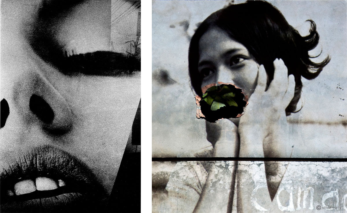Left: Daido Moriyama, Eros or Something Not Eros, 1969. Image courtesy of Daido Moriyama / Nagasawa Gallery. Right: Olivia Marty, Bến không chồng (L'Embarcadère des femmes sans mari), recOllectiOn project, 2012. Image courtesy of Olivia Marty and Visionairs Gallery Asia.