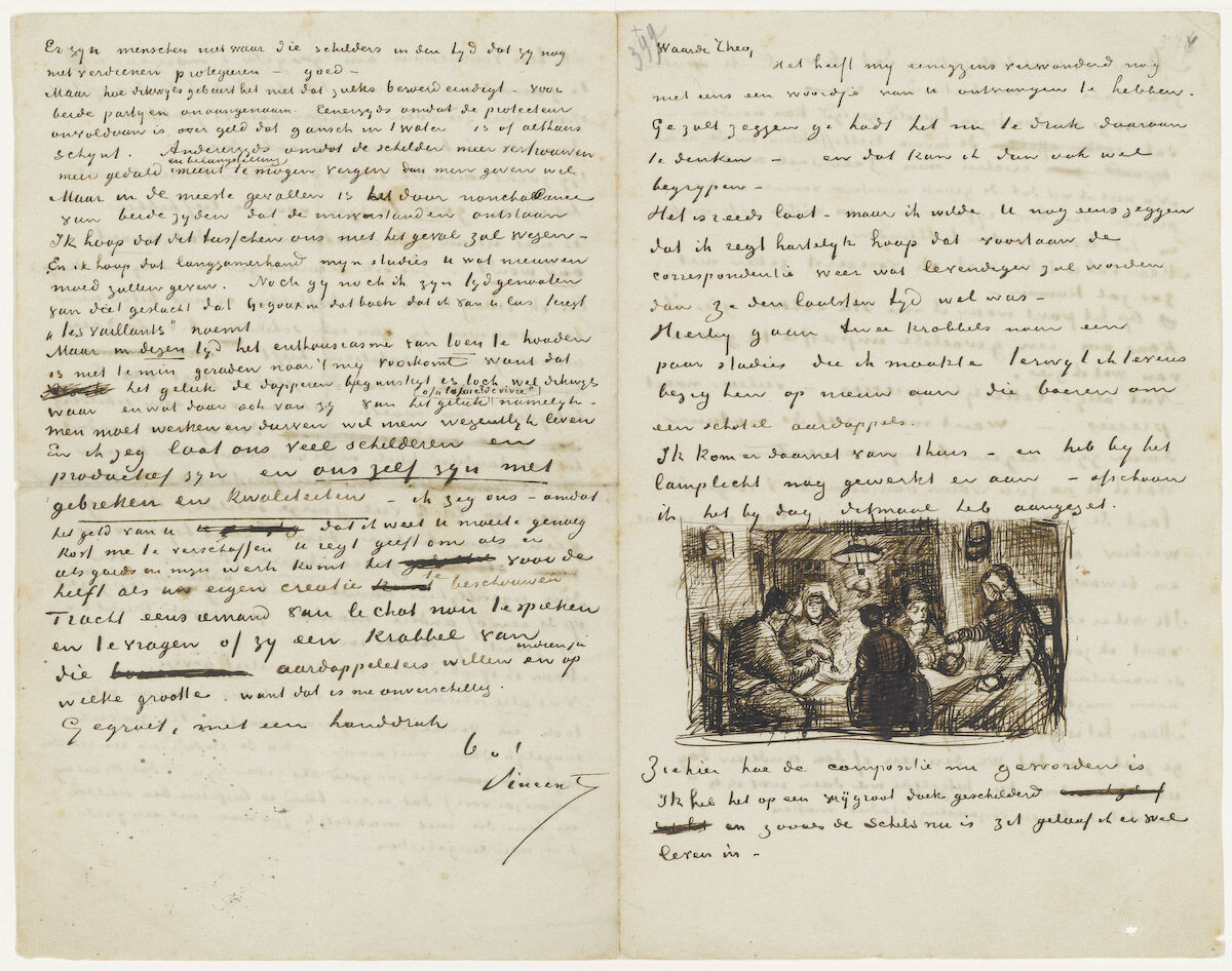 A letter from Vincent Van Gogh to his brother Theo Van Gogh, with a sketch of The Potato Eaters, April 1885. Photo via Wikimedia Commons.