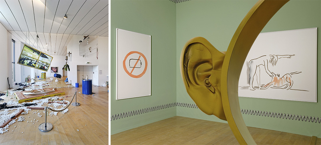 "Left: Camille Henrot, ""No, "" ""Hello & Thank you,"" ""Failed Dog Training (v1),"" 2015. Courtesy the artist, Kamel Mennour, Paris, and the Lyon Biennale 2015. Right: Emmanuelle Laine, ""Il paraît que le fond de l'être est en train de,"" 2015. Courtesy of the artist and the Lyon Biennale 2015© Blaise Adilon."
