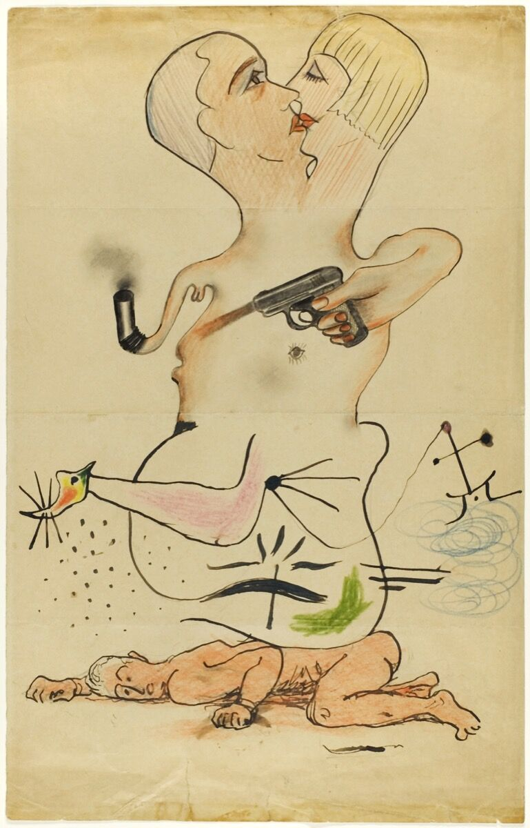 Man Ray (Emmanuel Radnitzky), Joan Miró, Yves Tanguy, and Max Morise, Exquisite Corpse, 1928. © 2018 Man Ray Trust / Artists Rights Society (ARS), New York / ADAGP, Paris. © 2018 Sucessió Miró / Artists Rights Society (ARS), New York / ADAGP, Paris.  Courtesy of the Art Institute of Chicago.