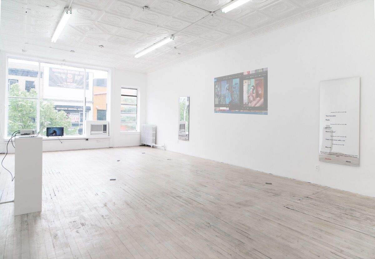 "Installation view of ""Molly Soda: I'm just happy to be here"" at 315 Gallery, Brooklyn, New York. Courtesy of the artist and 315 Gallery."