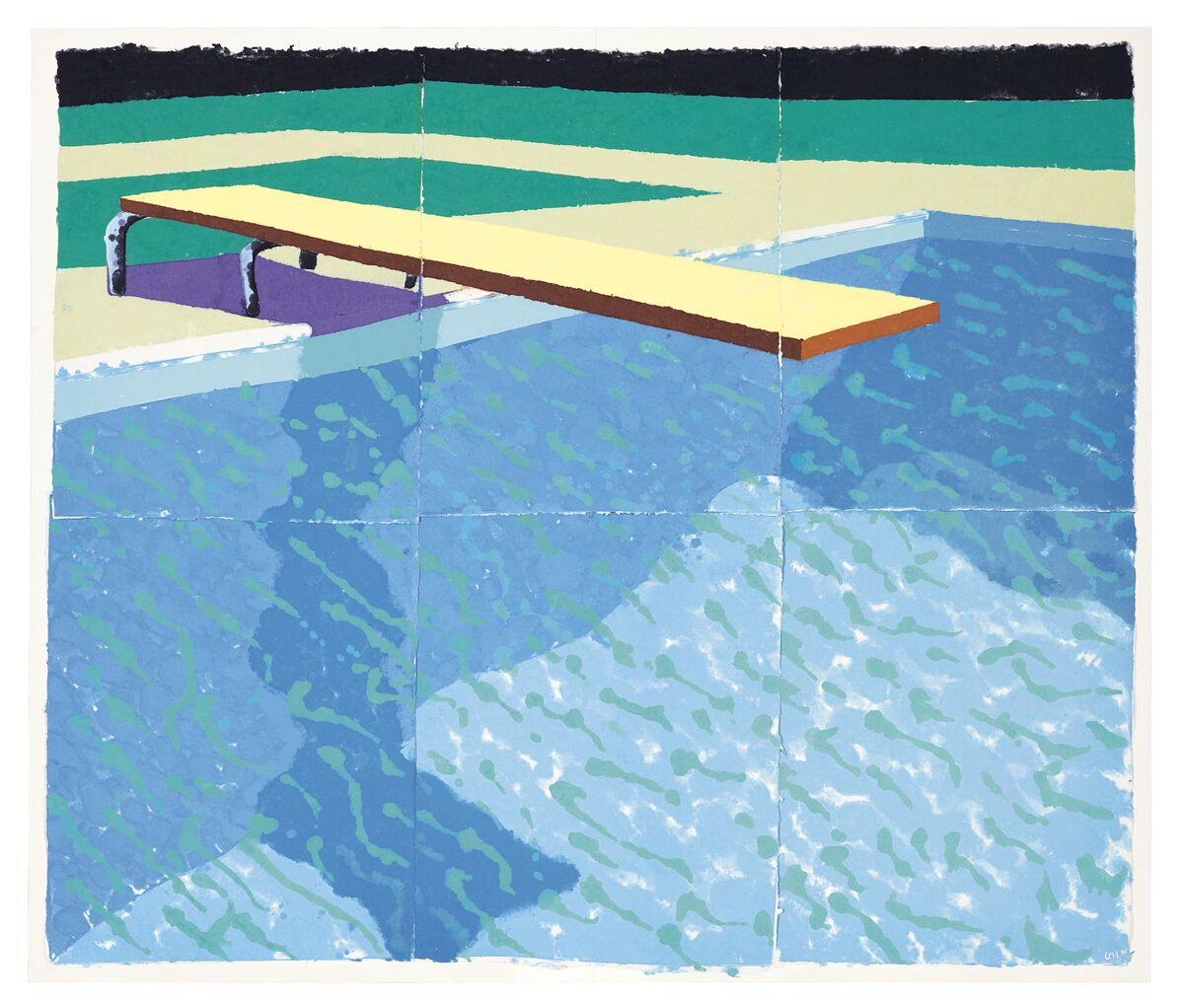 David Hockney, Sprungbrett mit Schatten (Paper Pool 14), 1978, pigment in paper pulp on six joined sheets. Image courtesy Christie's Images Ltd. 2018