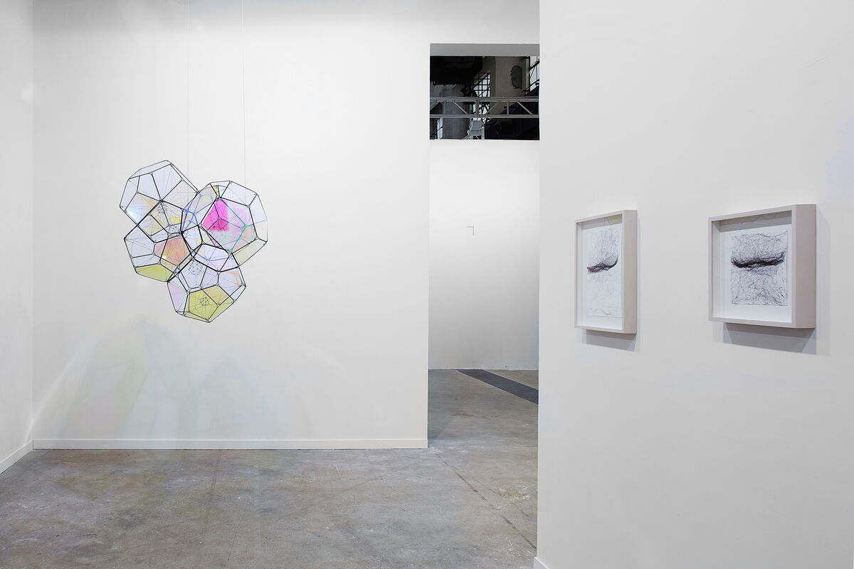 Installation view of sculptures and works on paper by Tomas Saraceno at Esther Schipper / Johnen Galerie, Berlin's booth at West Bund Art & Design. Photo by Pan Xiaochun.