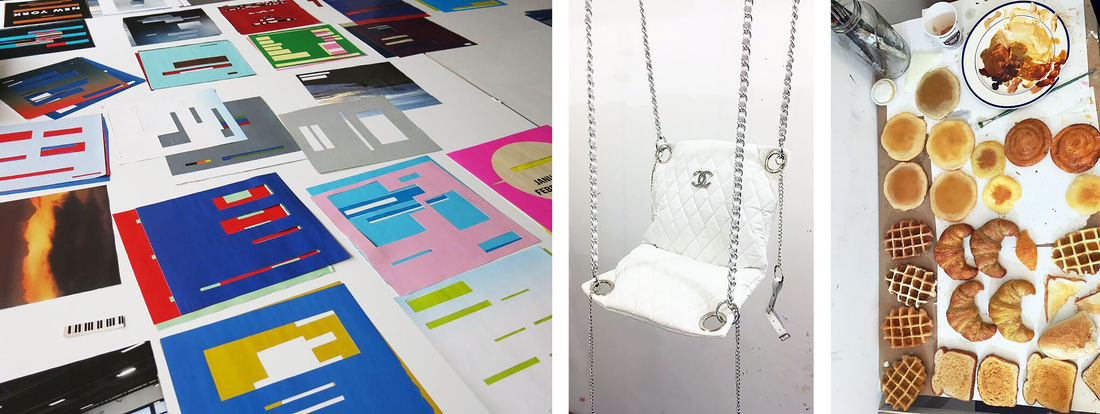 Paul Butler's cutout Artforum ads in process. Cloe Wise studio withChanel sexswing and painted pastries.