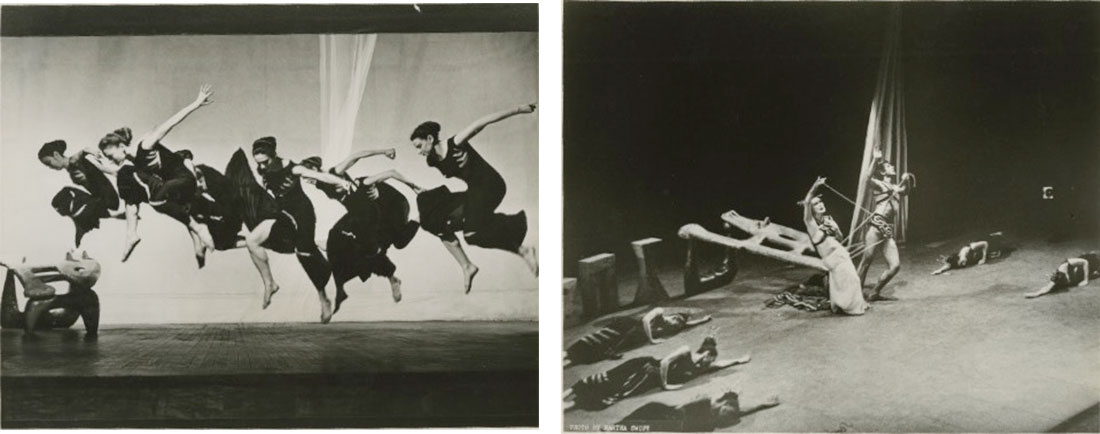 Left: Martha Graham and chorus in Night Journey, with set by Isamu Noguchi. Photographer unknown; Right:Martha Graham, Bertram Ross, and chorus in Night Journey. Photo by Martha Swope. Images courtesy of the Martha Graham Dance Company.