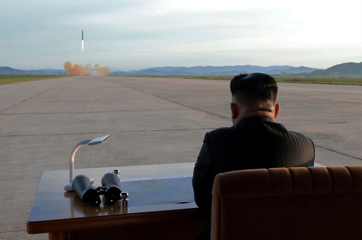 North Korean leader Kim Jong Un watches the launch of a Hwasong-12 missile in this undated photo released by North Korea's Korean Central News Agency (KCNA) on September 16, 2017. KCNA via REUTERS.