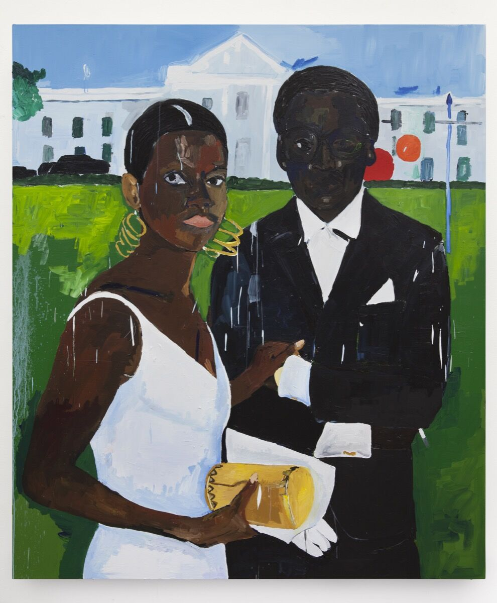 Henry Taylor, Cicely and Miles Visit the Obamas, 2017. © Henry Taylor. Courtesy of the artist and Blum & Poe, Los Angeles/New York/ Tokyo.