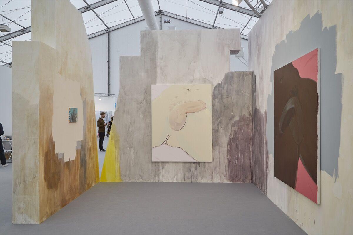 Installation view of works by Celia Hempton at Southard Reid's booth at Frieze London, 2016. Photo by Benjamin Westoby for Artsy.