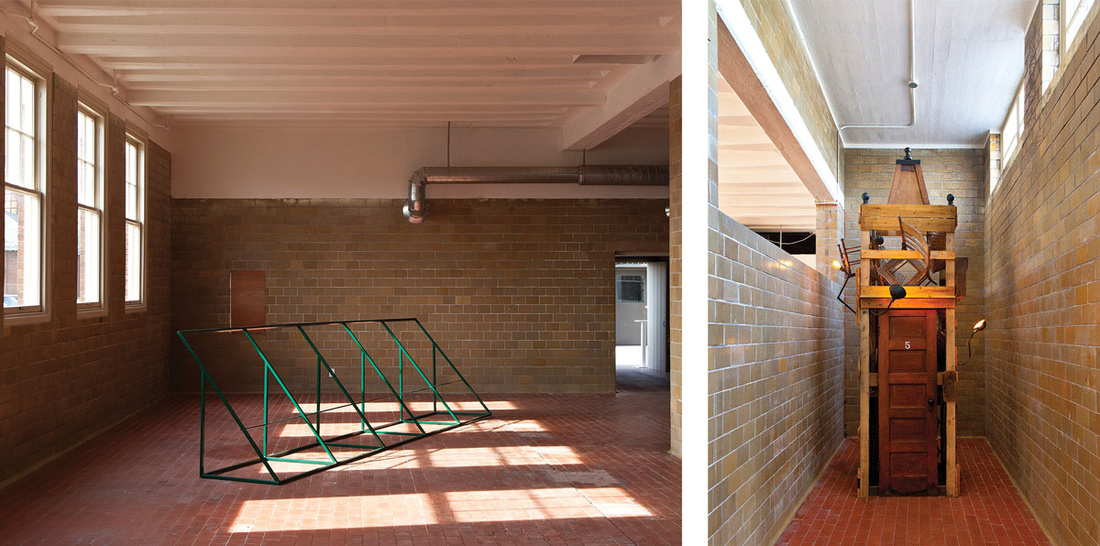 Left: Michael Milano, Awning for Central State, 2016. Right: Kipp Normand, Mad House, 2016. Images courtesy of art + space.
