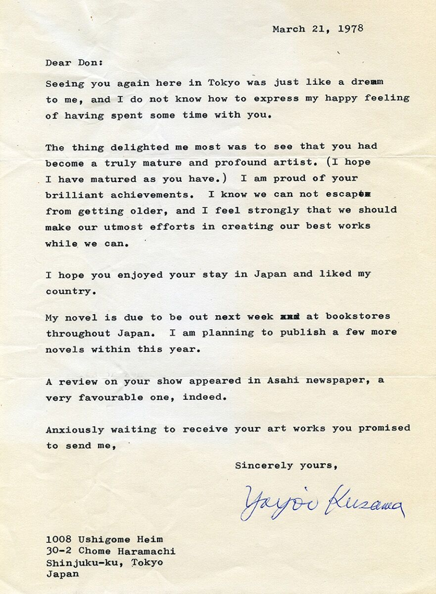 Letter from Yayoi Kusama to Donald Judd, March 21, 1978. © Judd Foundation. Courtesy of the Judd Foundation.