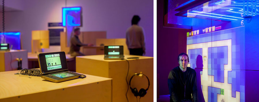 """Installation view of""""The Game Worlds of Jason Rohrer,"""" and portrait of Jason Rohrer with the exhibition, courtesy of the Davis Museum. Photos by Thomas Willis."""