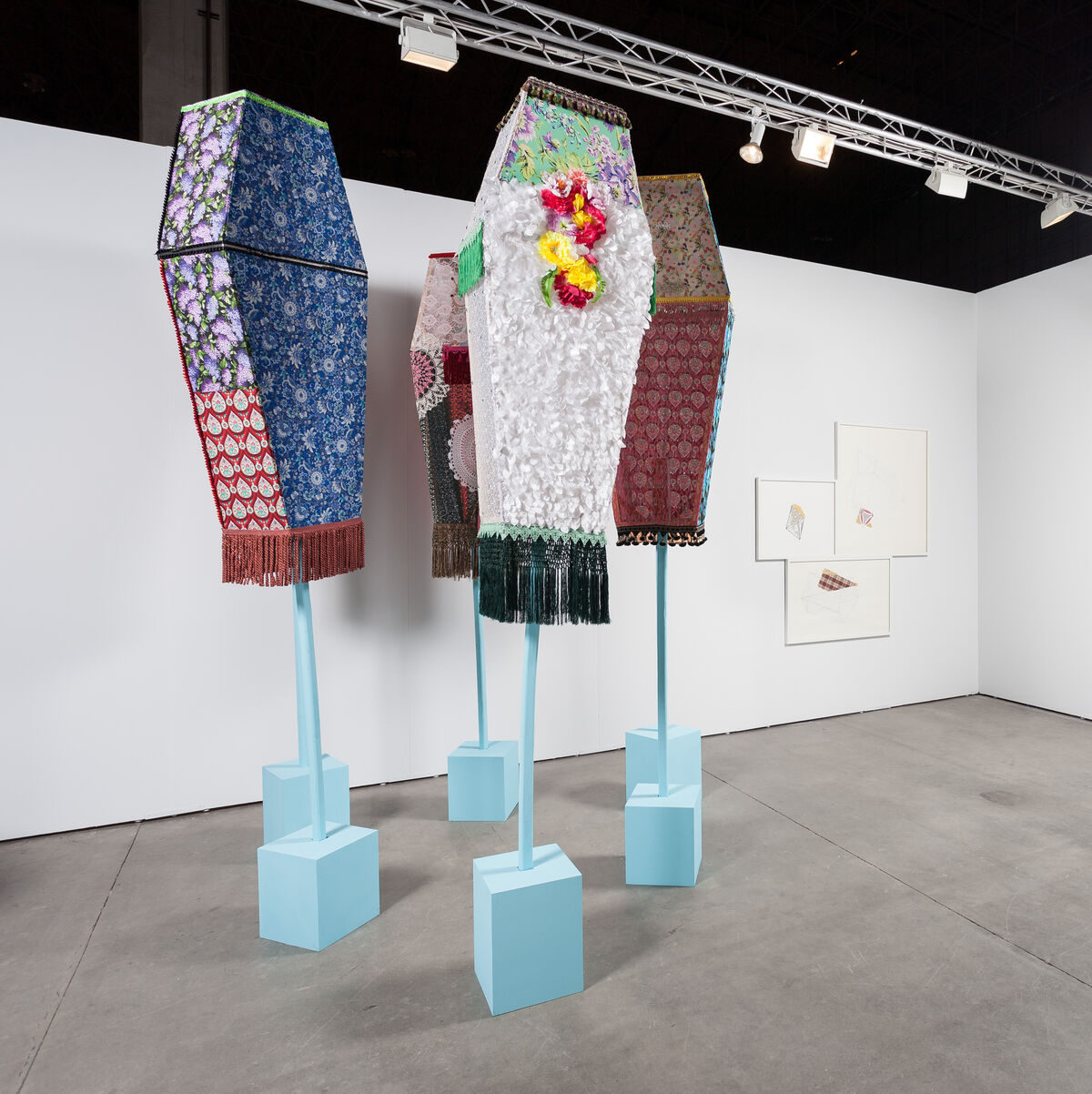 Installation view of Ebony G. Patterson's work at moniquemeloche's booth at EXPO Chicago, 2015, Courtesy the gallery.