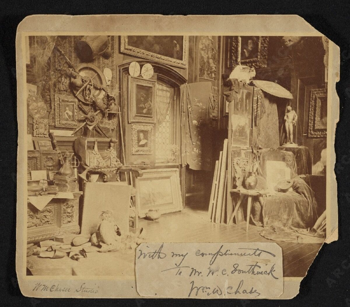 William Merritt Chase's 10th Street studio in New York, ca. 1880. Archives of American Art, Smithsonian Institution.