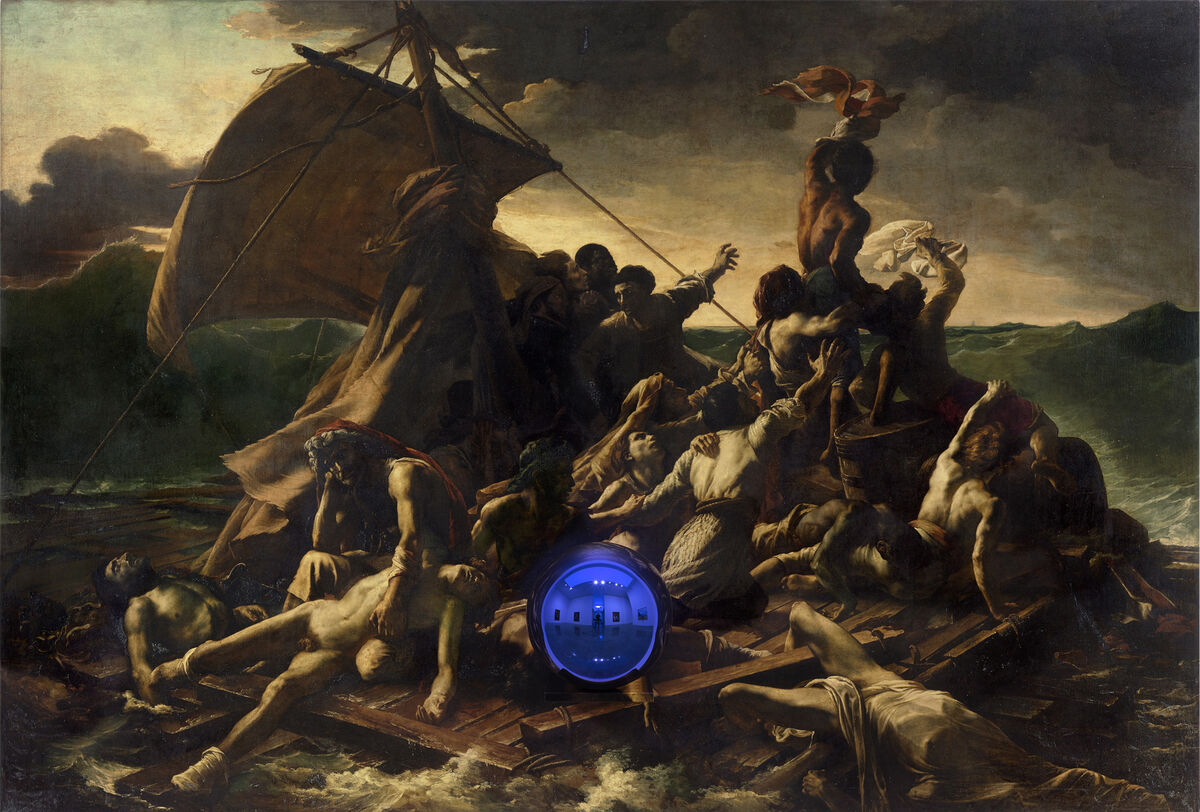 Jeff Koons, Gazing Ball (Gericault Raft of the Medusa), 2014-2015. Oil on canvas, glass, and aluminum, 69 1/4 x 102 x 14 3/4 inches (175.9 x 259.1 x 37.5 cm). © Jeff Koons. Courtesy Gagosian Gallery/Photo: Tom Powel Imaging
