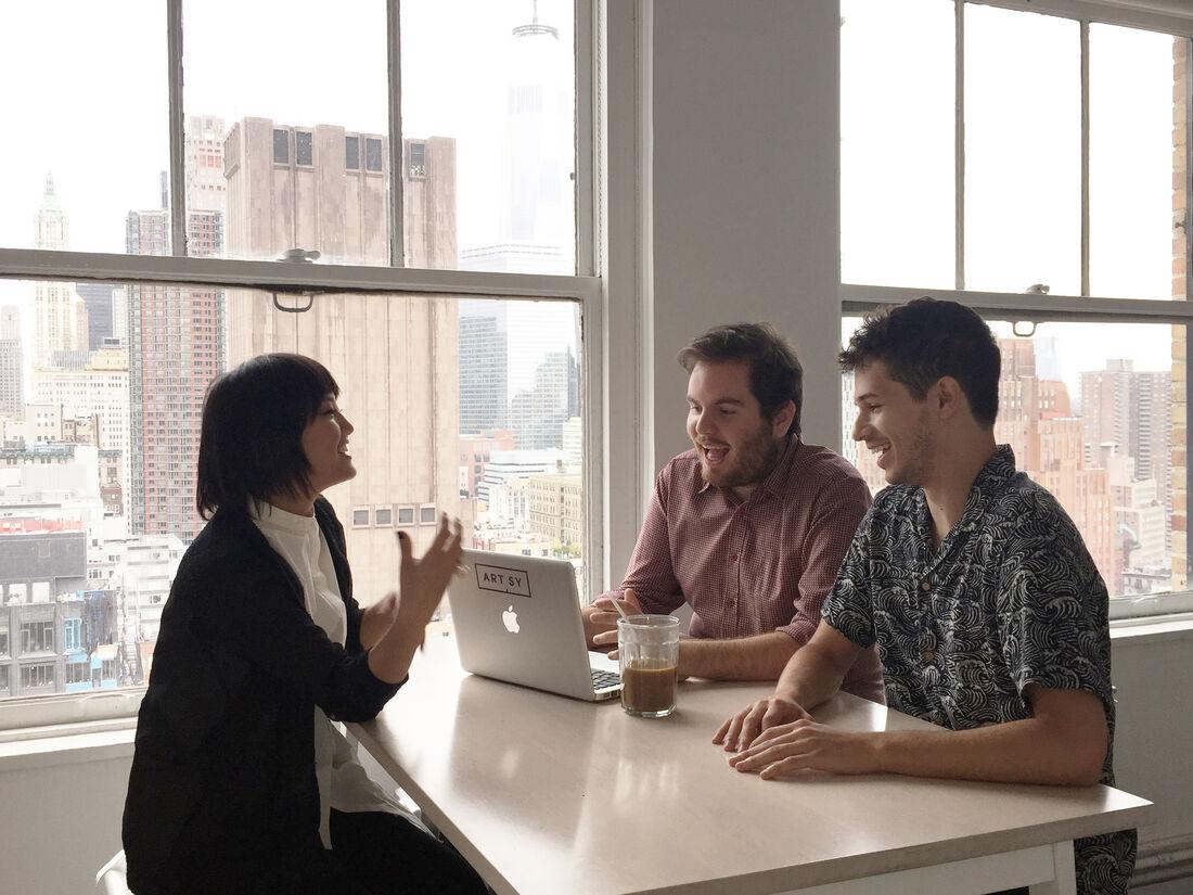 Former interns Hibiki Mizuno, Andrew Wagner, and Joel Auerbach at Artsy HQ