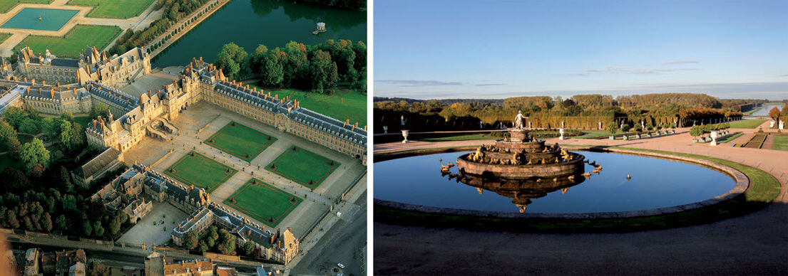 Aerial view of Château de Fontainebleau, courtesy of Château de Fontainebleau; view of the Latona Fountain at Château de Versailles, courtesy of Château de Versailles