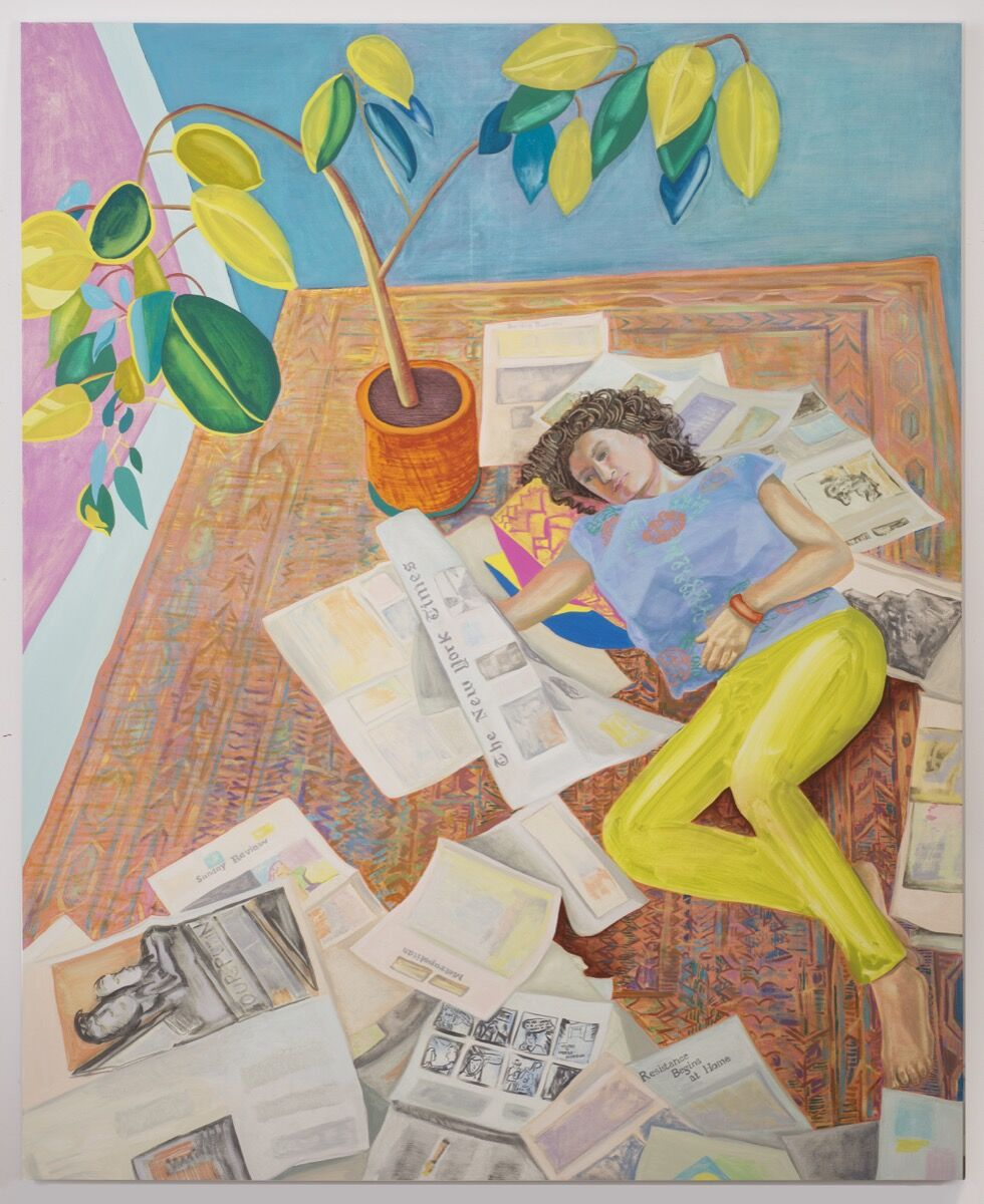 Aliza Nisenbaum, Kayhan Reading the New York Times (Resistance Begins at Home), 2017. Courtesy of the Flag Art Foundation.