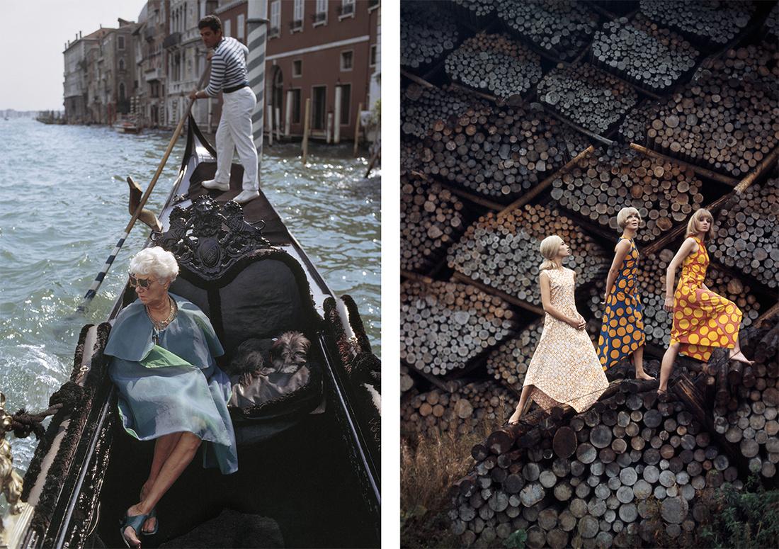 Tony Vaccaro, Peggy Guggenheim, Venice, Italy, 1968; Tony Vaccaro, Marimekko Helsinki, 1965. Courtesy Tony Vaccaro Studio/Monroe Gallery.