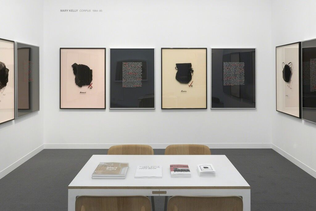 Installation view of Mary Kelly, Interim Part I: Corpus, 1984–85 in Pippy Houldsworth Gallery's booth at Frieze London, 2018. Courtesy of Pippy Houldsworth Gallery.