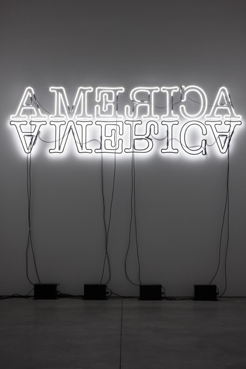 Glenn Ligon, Double America, 2012. © Glenn Ligon; Courtesy of the artist, Luhring Augustine, New York, Regen Projects, Los Angeles, and Thomas Dane Gallery, London.