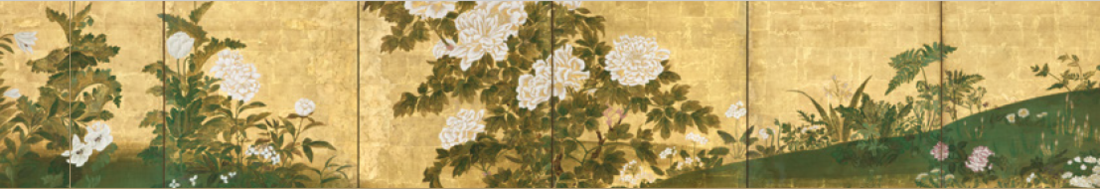 Pair of Six-Panel Folding Screens, 'Flowers of the Four Seasons'. IMAGE COURTESY OF ERIK THOMSEN GALLERY.