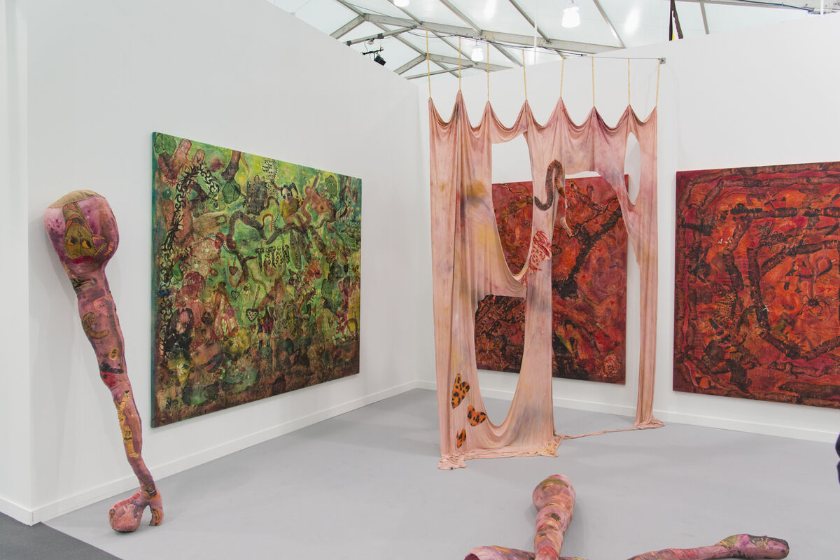 Installation view of Supportico Lopez's booth at Frieze New York, 2016. Photo by Adam Reich for Artsy.