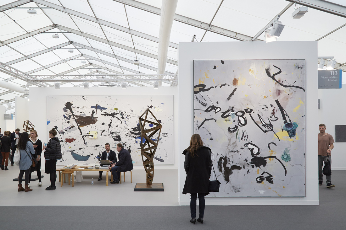 Installation view ofVictoria Miro's booth atFrieze London, 2015. Photo by Benjamin Westoby for Artsy.