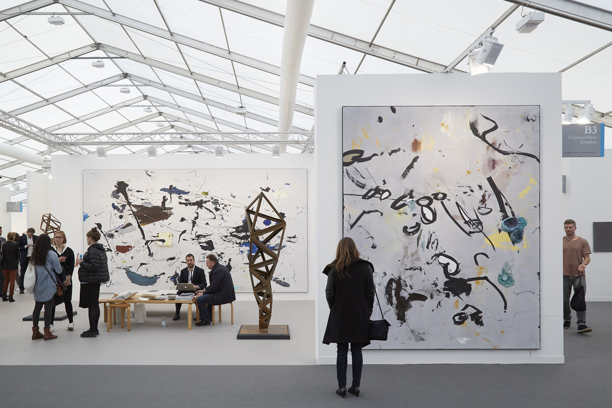 Installation view of Victoria Miro's booth at Frieze London, 2015. Photo by Benjamin Westoby for Artsy.