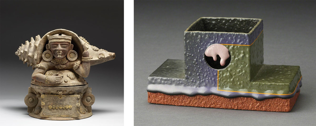 Left:Maya (artist),Teotihuacan ritual object (350-500). Image courtesy of the Walters Art Museum. Right: Ron Nagle, Incense Burner (1990). Image courtesy of Ferrin Contemporary, North Adams.