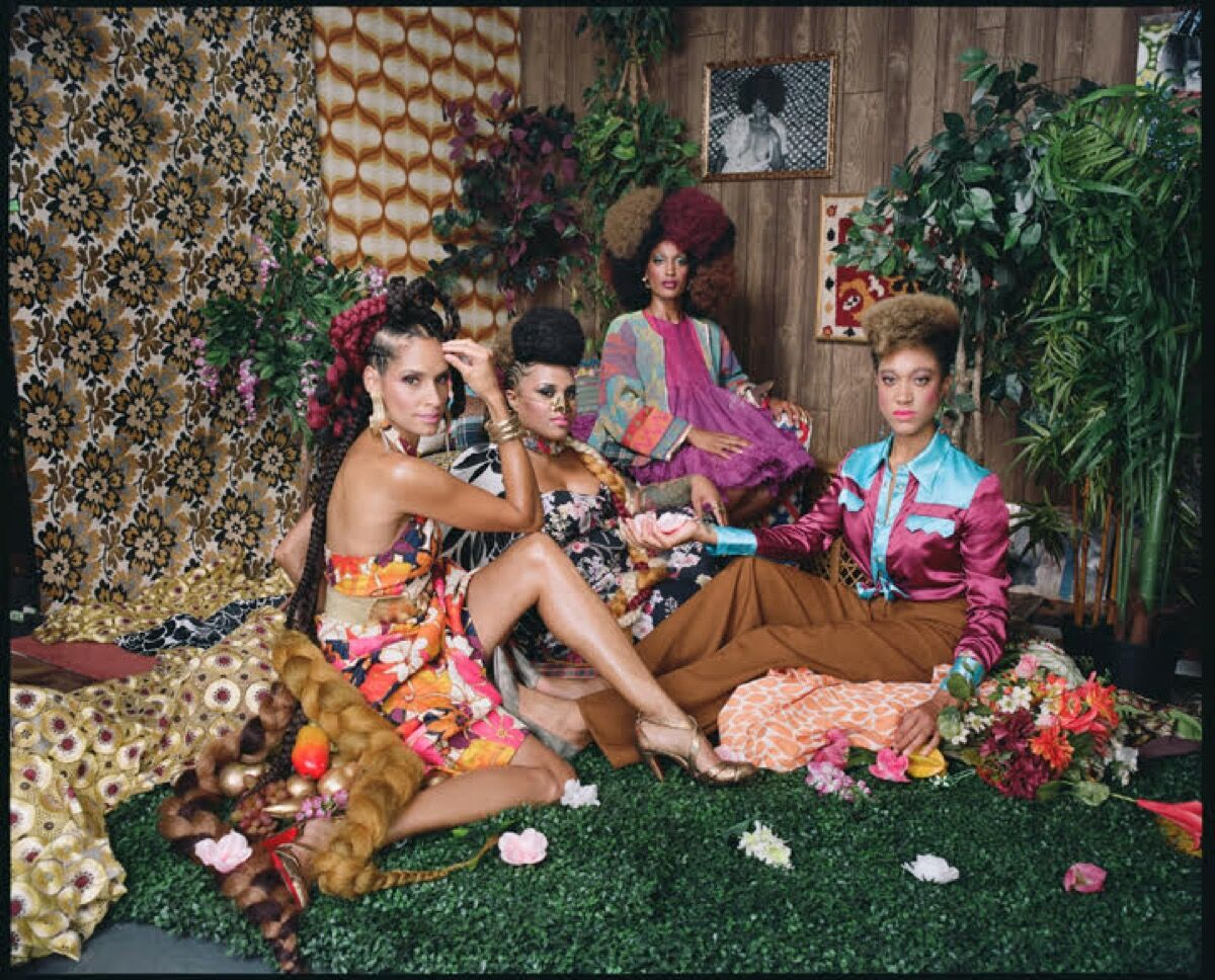 Mickalene Thomas, Racquel with Les Trois Femmes, 2018. © Mickalene Thomas / Artists Rights Society (ARS). Courtesy of the artist and Yancey Richardson Gallery.